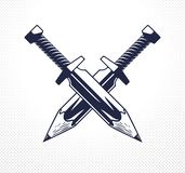 Idén är ett vapenbegrepp, vapen av en visade formgivare eller konstnärallegori, som två korsade svärd med blyertspennor i stället vektor illustrationer