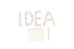 Idén av klistermärken med blyertspennan på vit bakgrund Fotografering för Bildbyråer