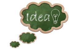 Idén och en ljus kula på en tankebubbla formade svart tavla Arkivbild