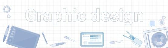 Idéord för grafisk design på kvadrerat bakgrundshorisontalbaner vektor illustrationer