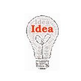 Idéordcollage i en lightbulb royaltyfri foto
