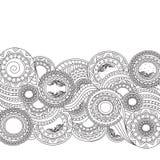 Idérik abstrakt blom- modell i klotterstil Royaltyfri Bild