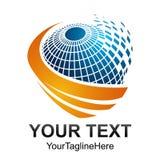 Idérik abstrakt digital design t för logo för sfärteknologivektor Arkivbilder