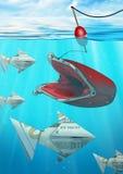 Idérik affärsidé som fångar dollarpengarfisken med walle Royaltyfri Foto
