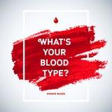 Idérik affisch för givare för information om blodgivaredagmotivation läkarundersökning för bakgrundsbloddonation Baner för världs Arkivbilder