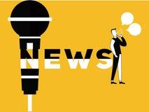 Idérik aktivitet för för ordbegreppsnyheterna och man royaltyfri illustrationer