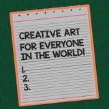 Idérik Art For Everyone In The för ordhandstiltext värld Affärsidéen för spridd kreativitet till andra fodrade spiralt arkivfoto