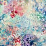 Idérik bakgrund med blom- beståndsdelar och olika texturer Arkivbild