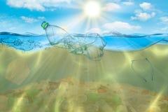 Idérik bakgrund, plastpåse som svävar i havet, en påse i vattnet Begreppet av miljöbelastning som är icke- royaltyfria foton