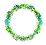 Idérik beståndsdel för design Vibrerande hand målad vattenfärgkrans av gröna sidor arkivfoton