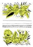 Idérik blommadiagramillustration Texturer som göras med svart färgpulver Handborstemålning för dina designer: logo för royaltyfri illustrationer