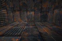 Idérik 3D mörka Grungy Rusty Metal Room vektor illustrationer