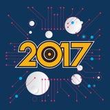idérik design för nytt år 2017 för ditt hälsningskort, reklamblad, inbjudan, affischer, broschyr, baner, kalender Royaltyfri Fotografi
