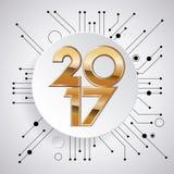 idérik design för nytt år 2017 för ditt hälsningskort, reklamblad, inbjudan, affischer, broschyr, baner, kalender Arkivbild