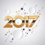 idérik design för nytt år 2017 för ditt hälsningskort, reklamblad, inbjudan, affischer, broschyr, baner, kalender Royaltyfria Foton