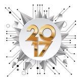 idérik design för nytt år 2017 för ditt hälsningskort, reklamblad, inbjudan, affischer, broschyr, baner, kalender Royaltyfria Bilder