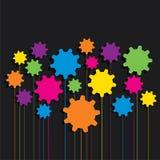 Idérik färgrik kugghjulmodellbakgrund Arkivbilder