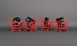 Idérik försäljningstext och röd korgspårvagnvagn, designbegrepp för svart fredag försäljningshändelse royaltyfria bilder