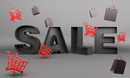 Idérik försäljningstext, röd korgspårvagnvagn och shoppingpåse, designbegrepp för svart fredag försäljningshändelse arkivfoto