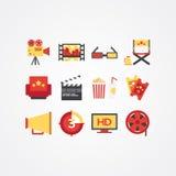 Idérik filmsymbolsuppsättning Olika symboler för biovektorlägenhet Royaltyfria Bilder