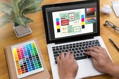 Idérik formgivare Graphic på arbete Färgprovkartaprövkopior, Illustr royaltyfri illustrationer