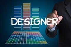 Idérik formgivareGraphic formgivare på arbete Färgprovkartaprövkopia stock illustrationer