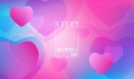 Idérik geometrisk hjärtatapet Den lyckliga moderiktiga lutningen för valentindagen formar sammansättning Landa sidan stock illustrationer