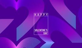 Idérik geometrisk hjärtatapet Den lyckliga moderiktiga lutningen för valentindagen formar sammansättning Landa sidan royaltyfri illustrationer
