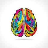 Idérik hjärna med målarfärgslaglängder Fotografering för Bildbyråer