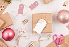 Idérik hobbymodell Kort för hälsning för DIY-jul handgjorda, de royaltyfri foto