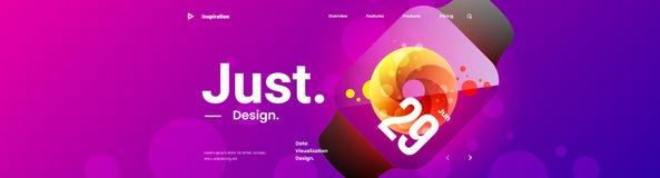 Idérik horisontalwebsiteskärmdel för svars- utveckling för rengöringsdukdesignprojekt royaltyfri illustrationer