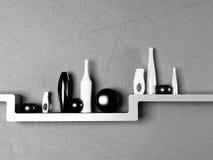 Idérik hylla med vaserna stock illustrationer