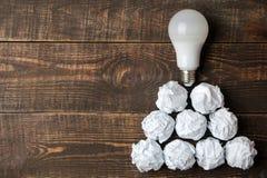 Idérik idé för begrepp Begrepp av den idérika idén Kulor av skrynkligt papper och den ljusa kulan metafor inspiration arkivfoto