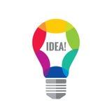 Idérik idé - illustration för begrepp för vektorlogomall Färgrik optimismsymbol för Lightbulb Realitetsymbol för elektrisk lampa Arkivfoton
