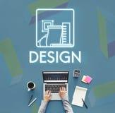 Idérik idémodell Sketch Draft Concept för design Arkivfoton