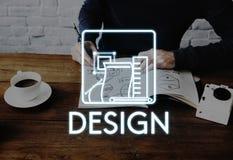 Idérik idémodell Sketch Draft Concept för design Arkivbilder