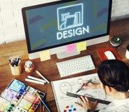Idérik idémodell Sketch Draft Concept för design Arkivbild