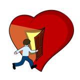 Idérik illustration av en hjärta med den öppna dörren Arkivbilder