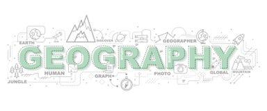 Idérik illustration av geografi med linjen symbol stock illustrationer