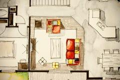 Idérik illustration av husvardagsrum Stock Illustrationer