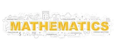 Idérik illustration av matematik med linjen symbol royaltyfri illustrationer