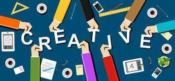 Idérik illustration lego för hand för byggnadsbegreppskreativitet upp väggen Plana designillustrationbegrepp för idérikt lag, tea Royaltyfri Fotografi