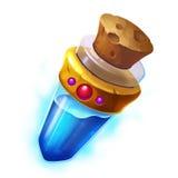 Idérik illustration och innovativ konst: Blå flaska för magisk dryck royaltyfri illustrationer