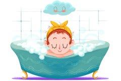 Idérik illustration och innovativ konst: Den lilla flickan tar ett lyckligt bad i bada stock illustrationer
