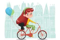 Idérik illustration och innovativ konst: Flicka som rider hennes cykel som runt om världen turnerar med hennes lilla hund Arkivbild