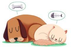 Idérik illustration och innovativ konst: Hund och Cat Sleep Together Royaltyfria Bilder