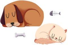 Idérik illustration och innovativ konst: Hund och Cat Sleep Together som isoleras på vit bakgrund Arkivfoton