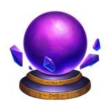 Idérik illustration och innovativ konst: Magiska Crystal Ball som isoleras på vit bakgrund Arkivbild