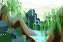 Idérik illustration och innovativ konst: Våren kommer Arkivbilder