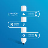 Idérik infographic mall för vektor med blyertspennabandlinjen Arkivbild